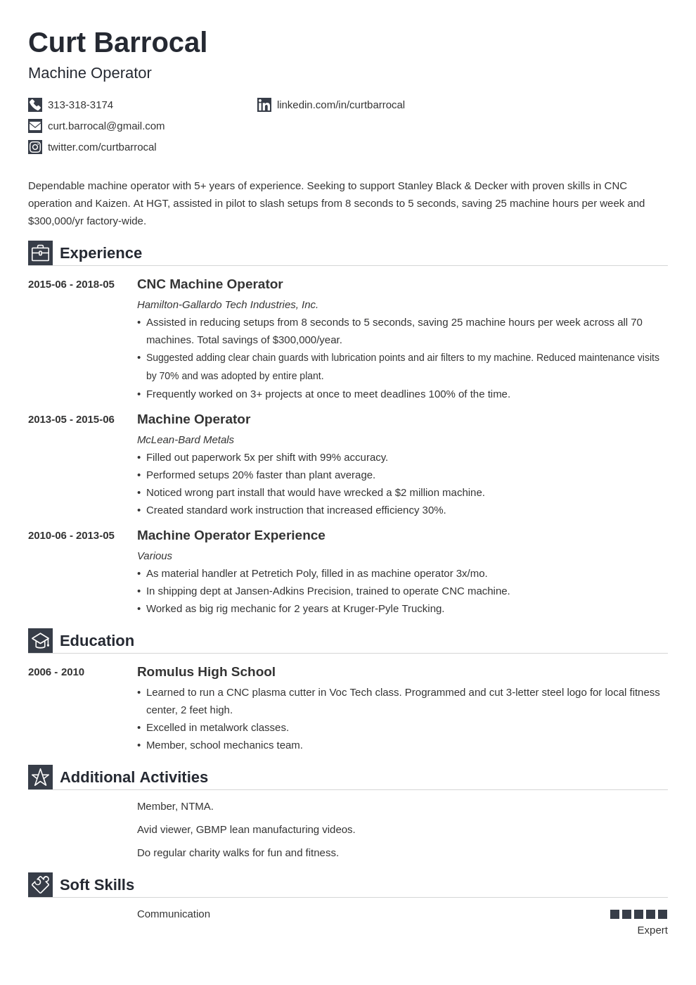 machine operator resume example template iconic