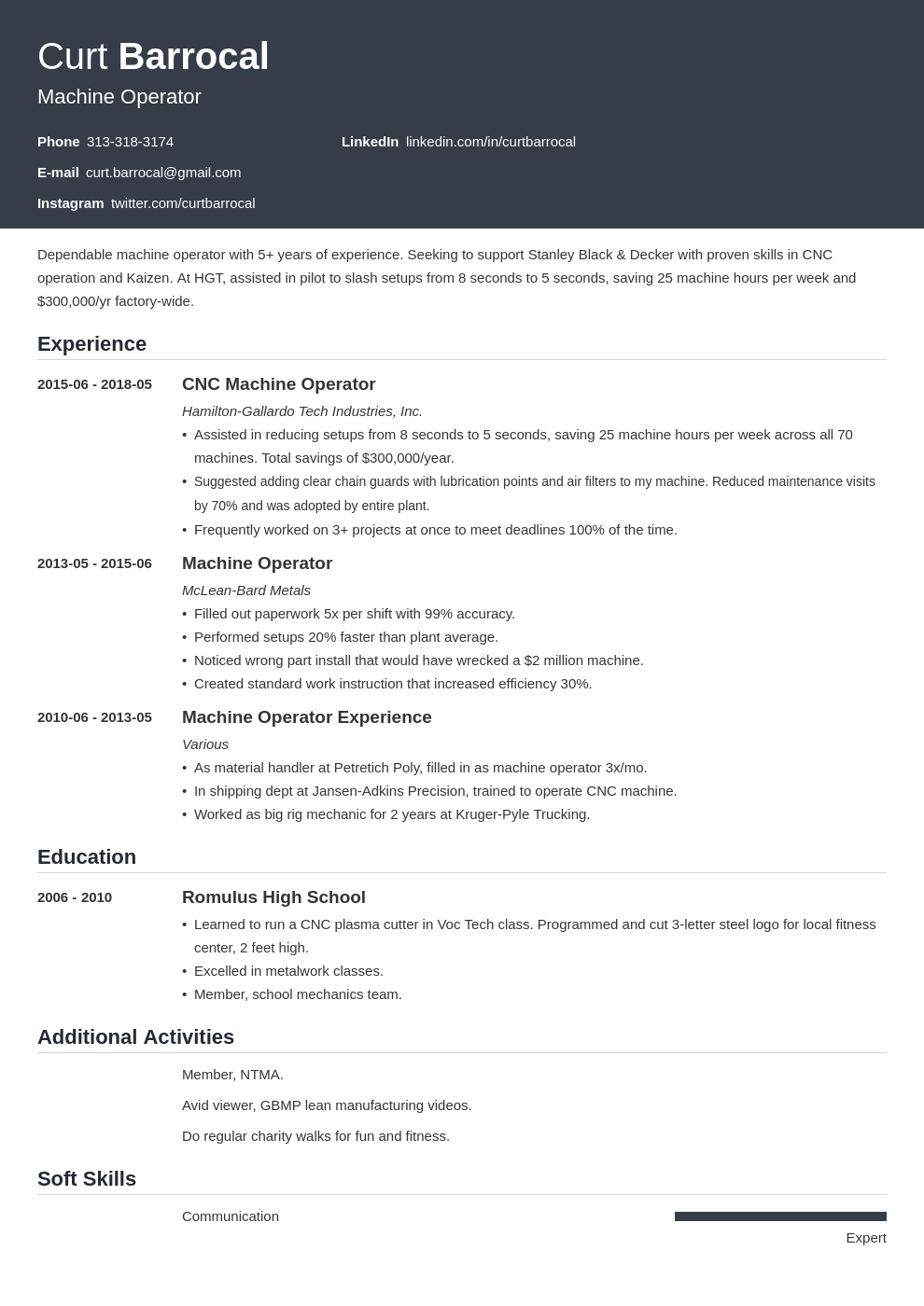 machine operator resume example template influx