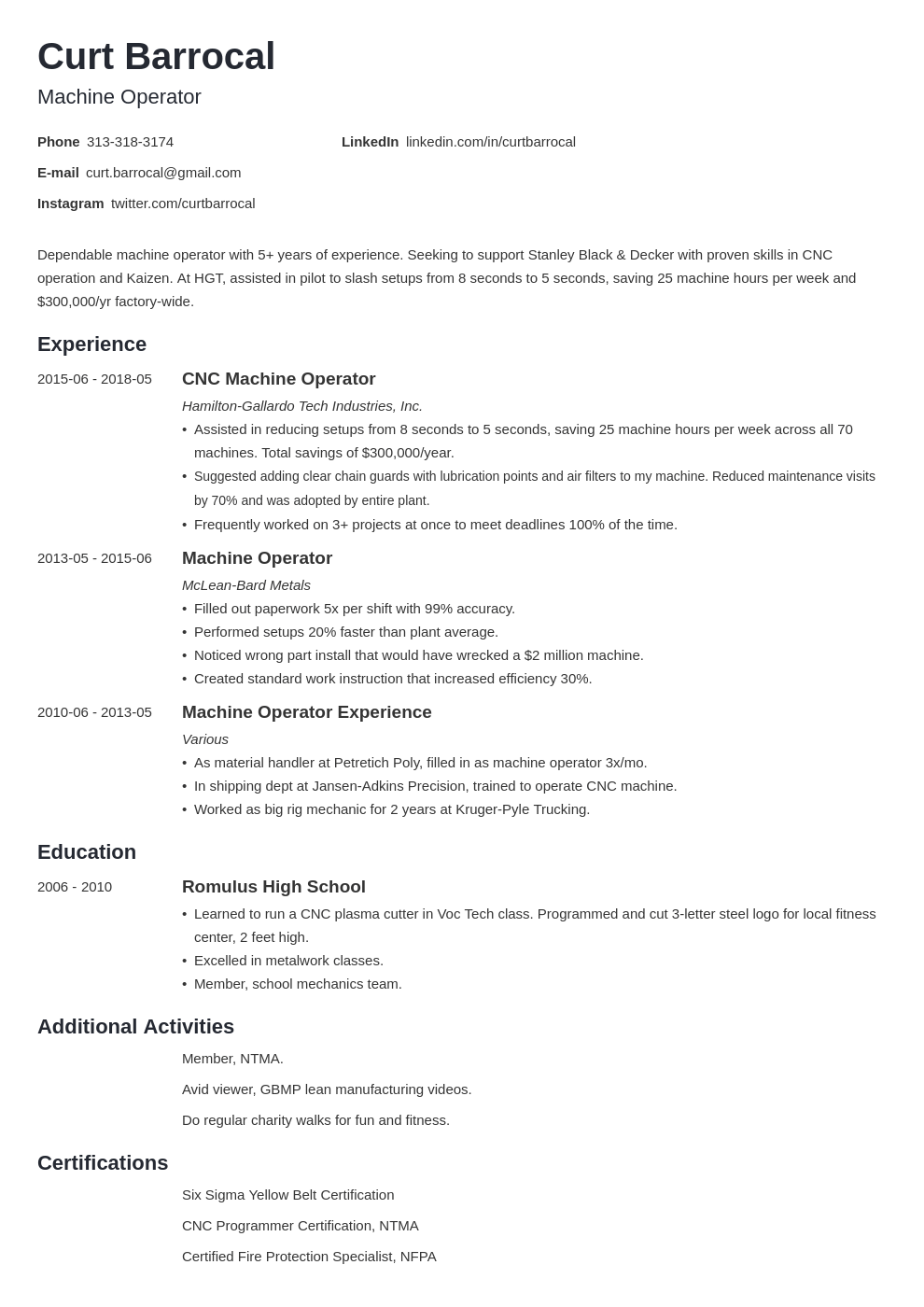 machine operator resume example template minimo