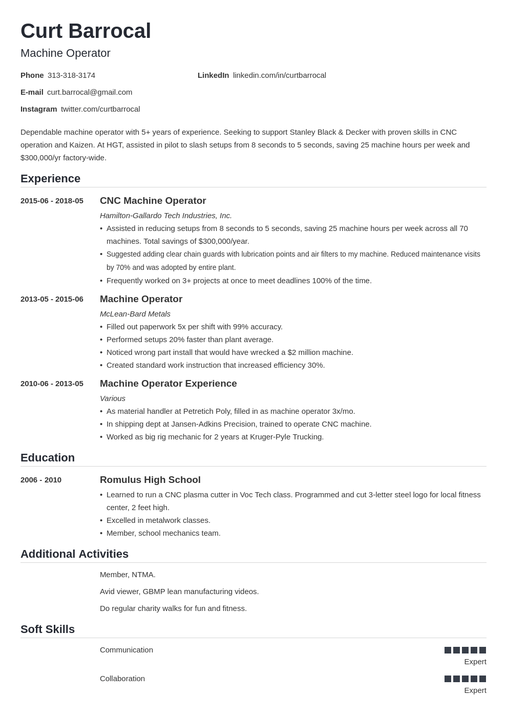machine operator resume example template nanica