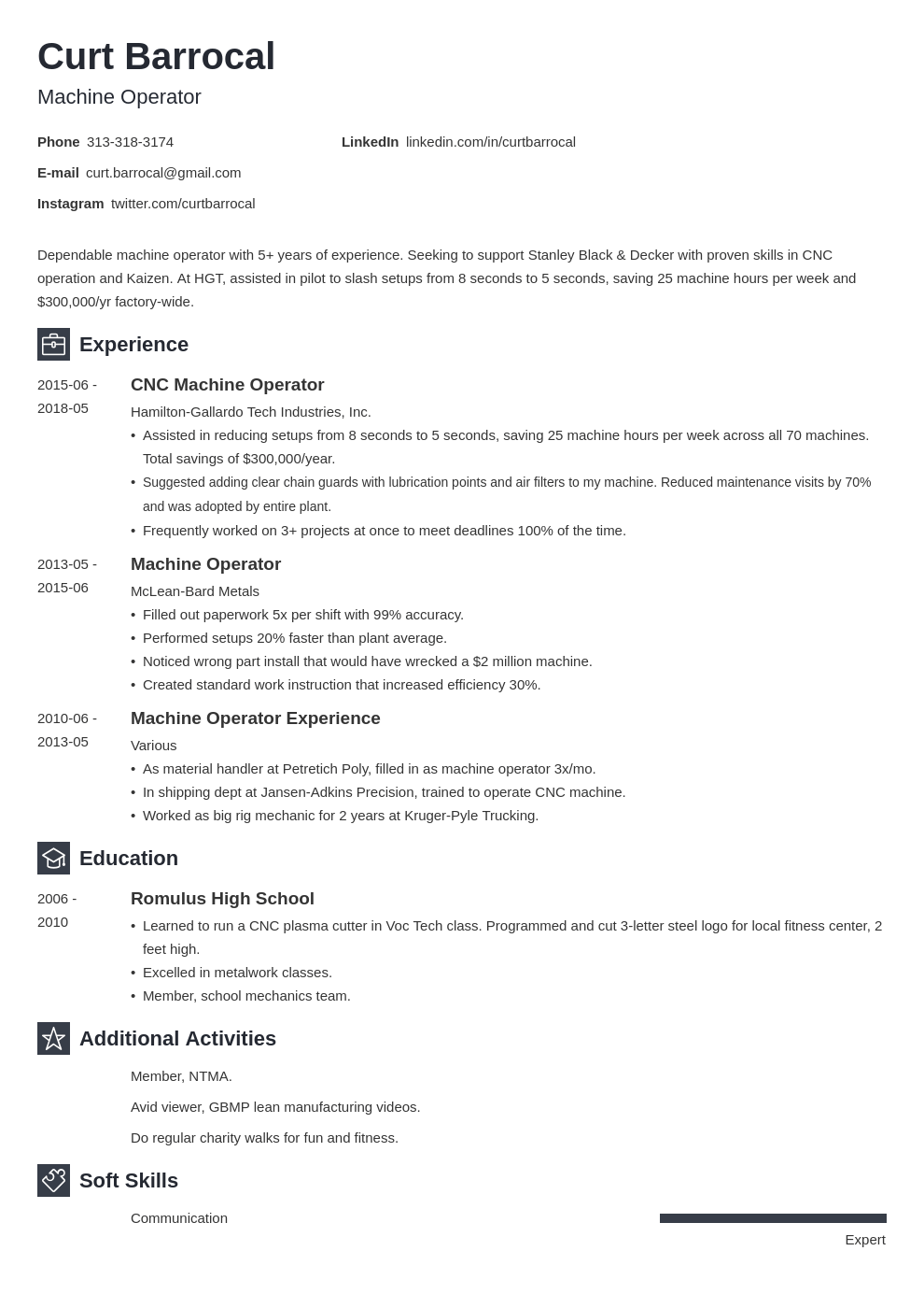 machine operator resume example template newcast
