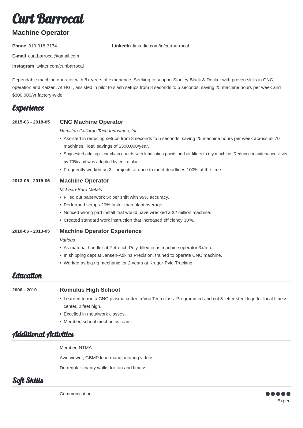 machine operator resume example template valera