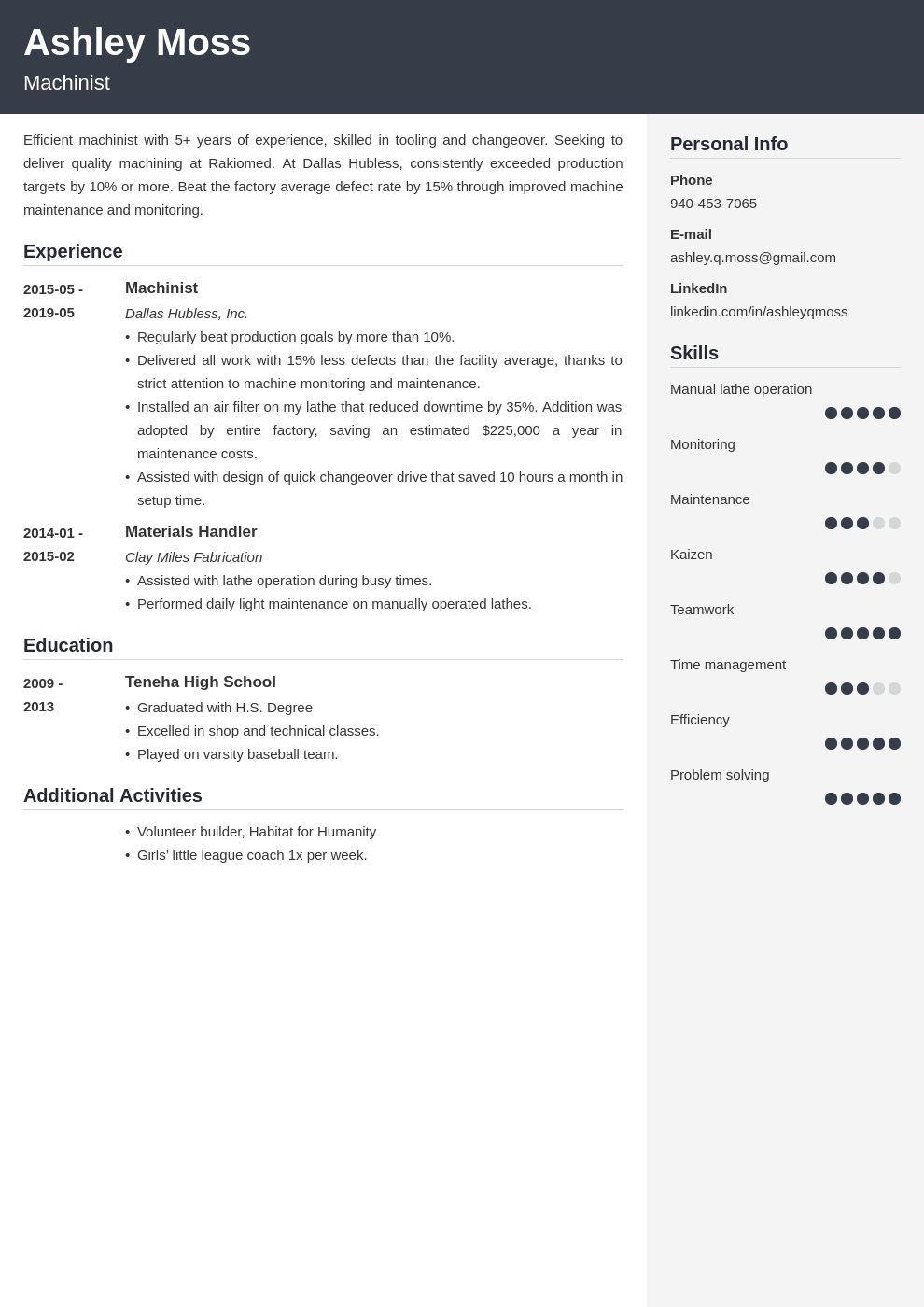 machinist resume example template cubic