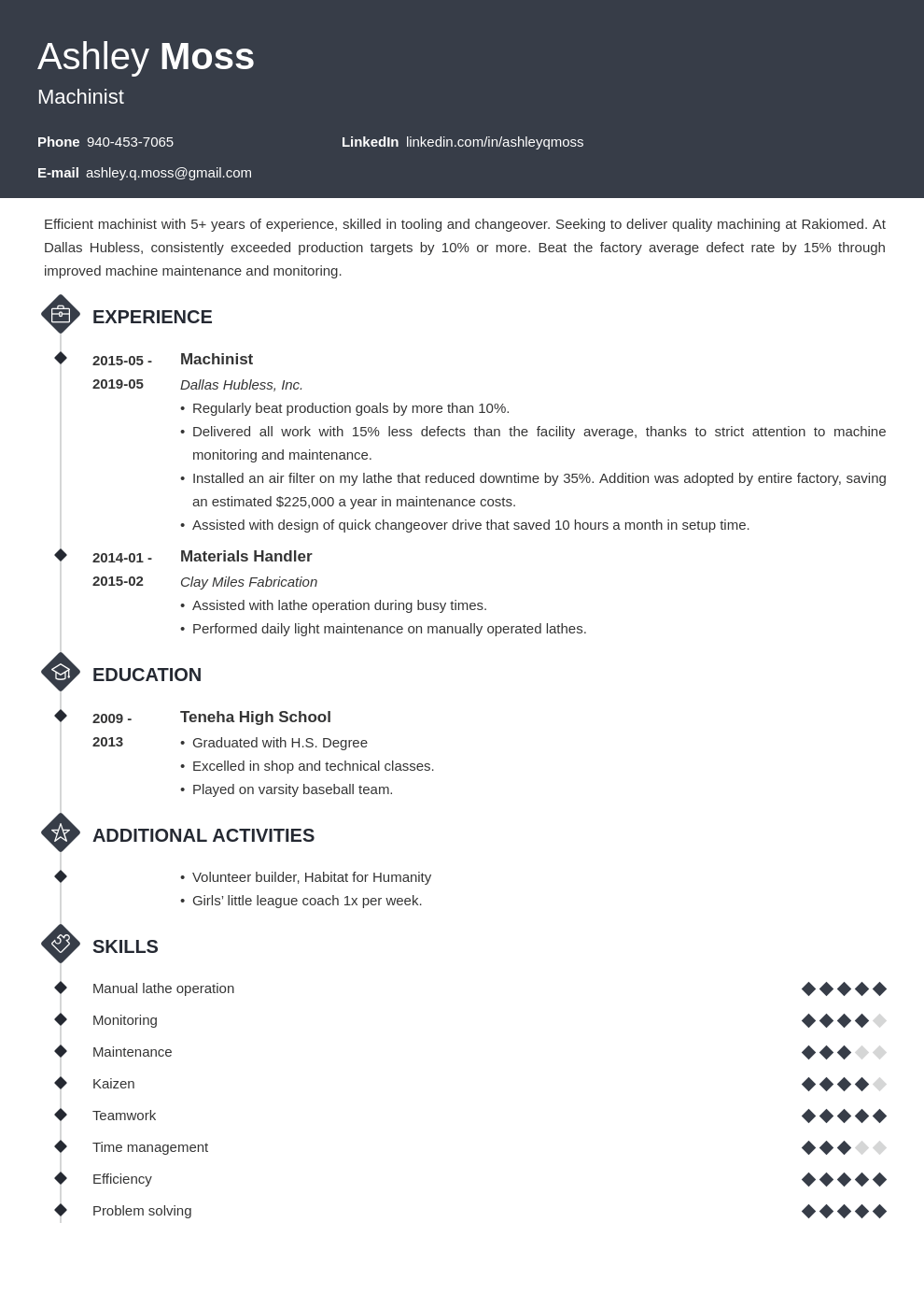 machinist resume example template diamond