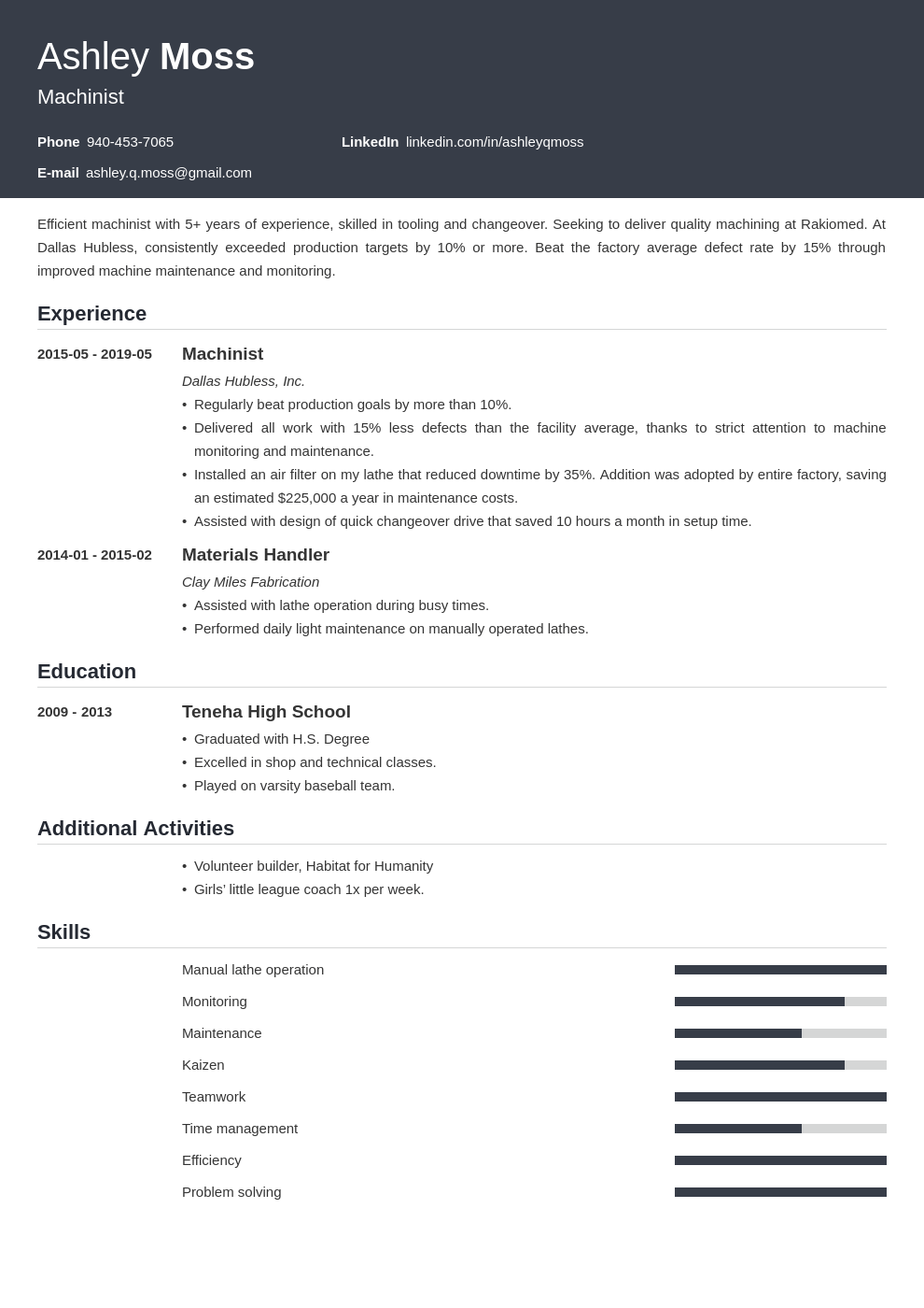machinist resume example template influx