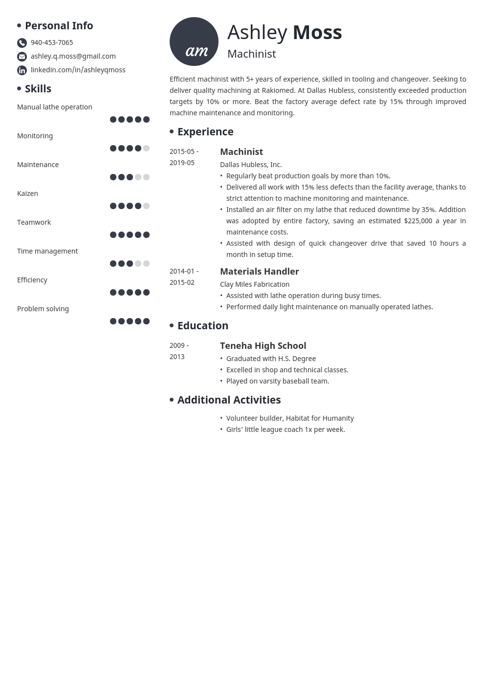 machinist resume example template initials