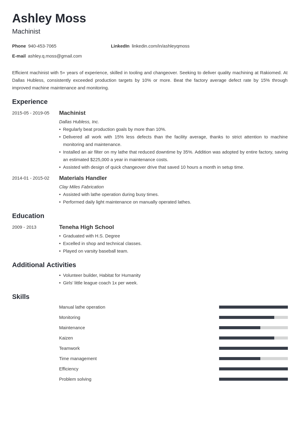 machinist resume example template minimo