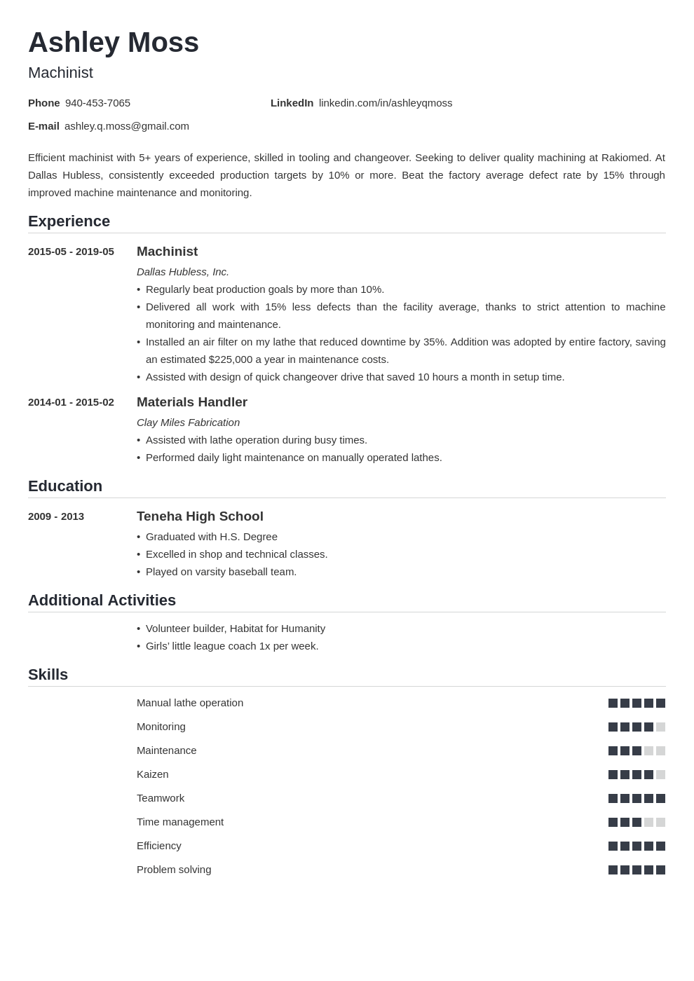 machinist resume example template nanica
