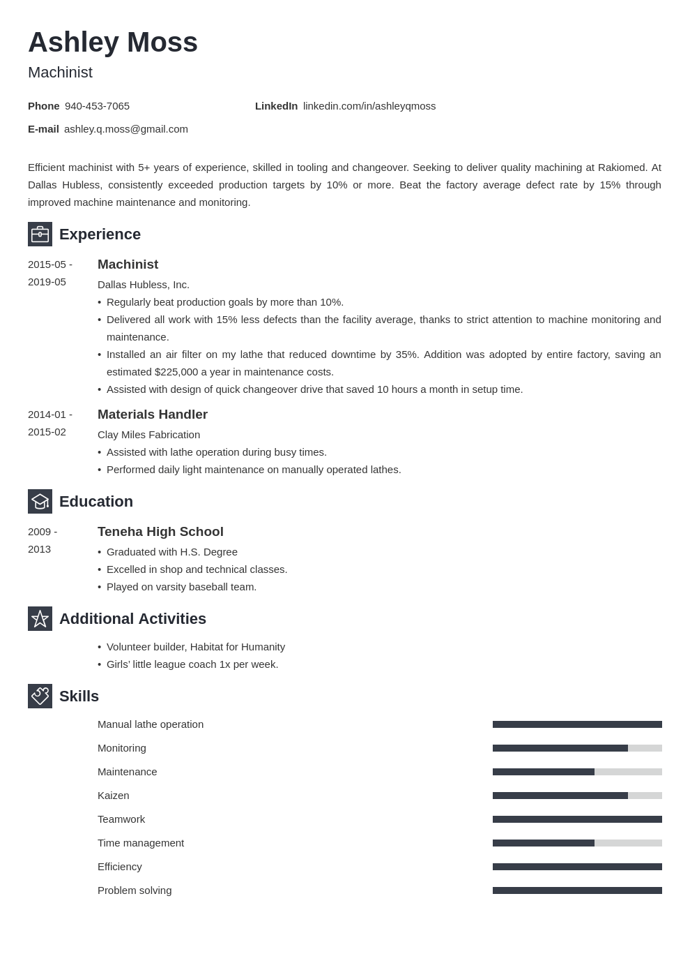 machinist resume example template newcast