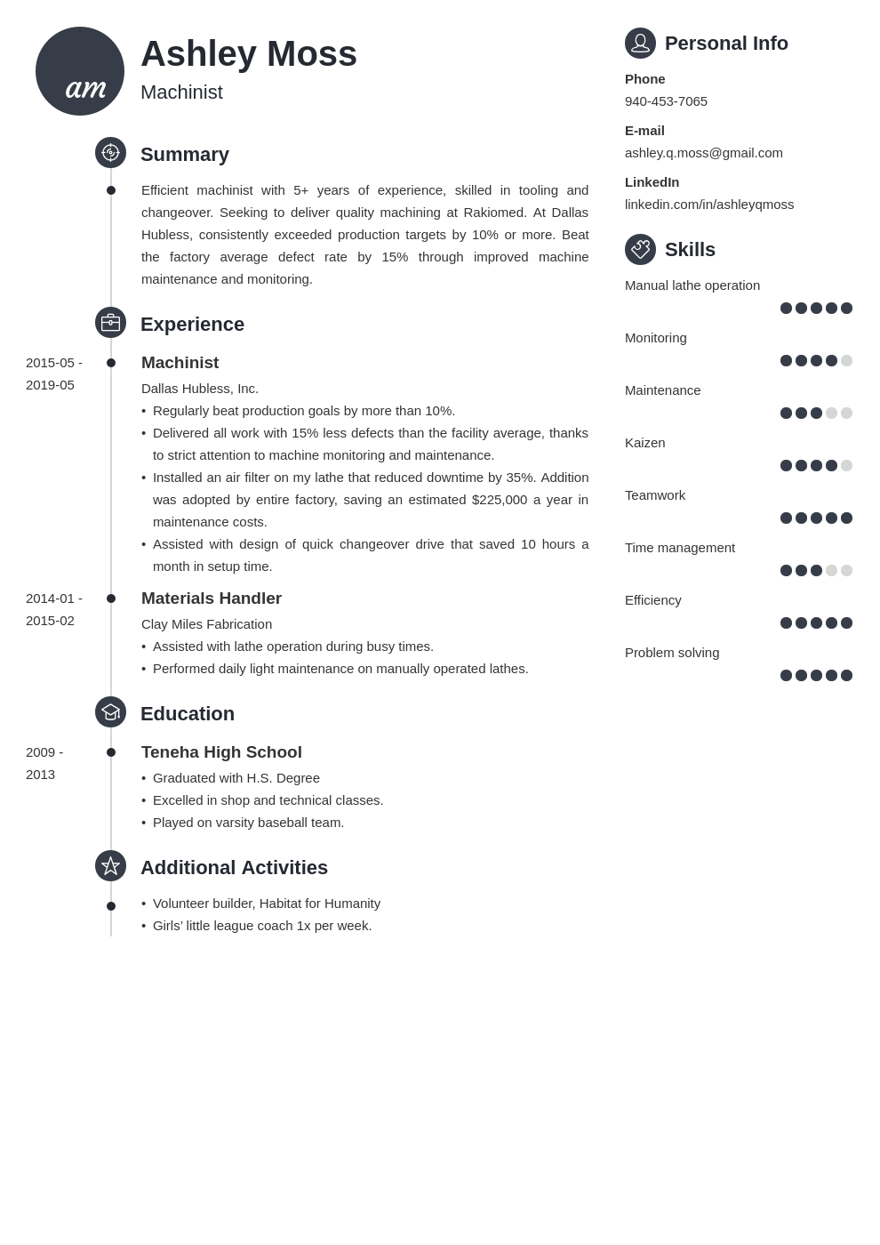 machinist resume example template primo