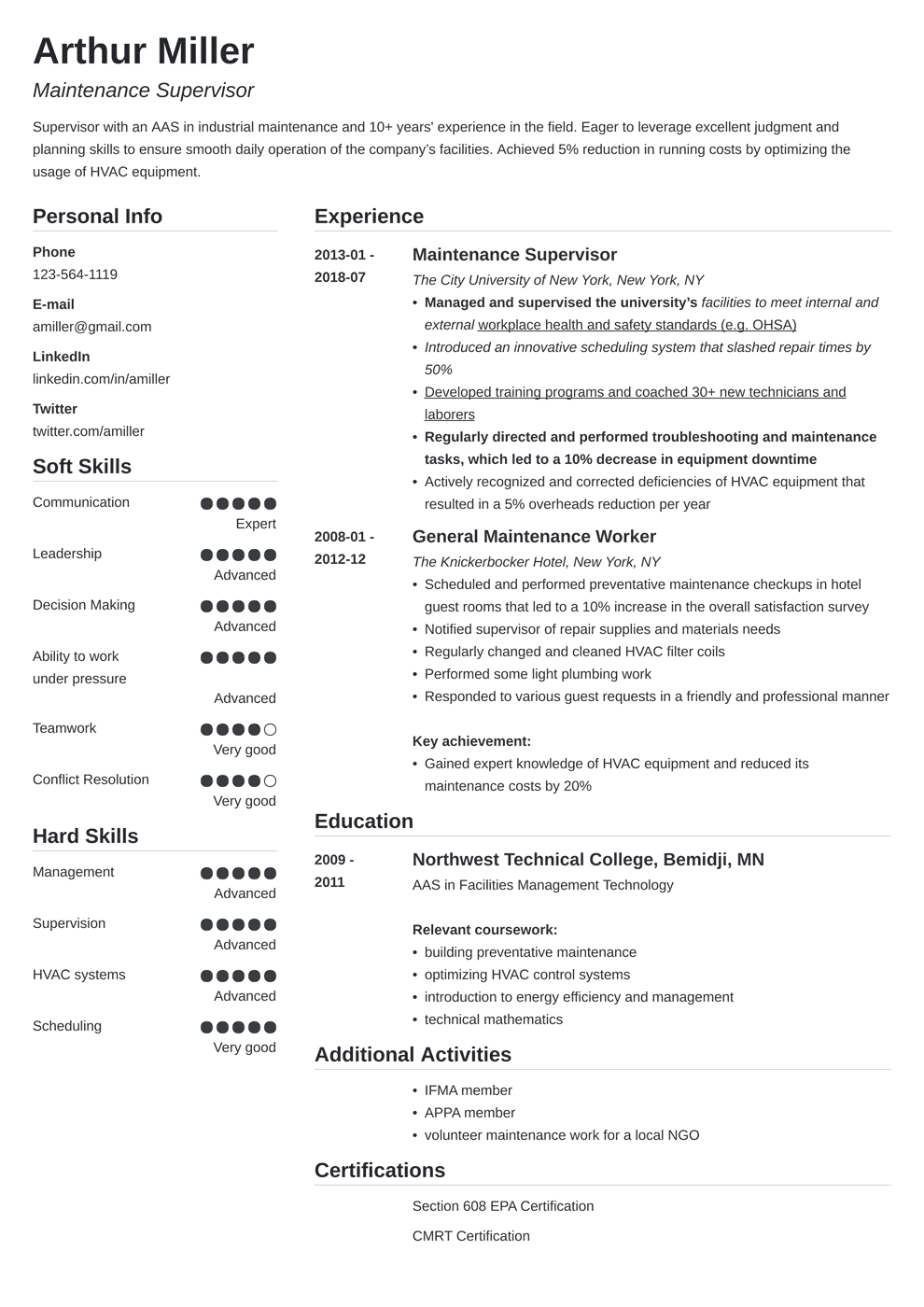 Maintenance Resume Examples for a Worker & Supervisor