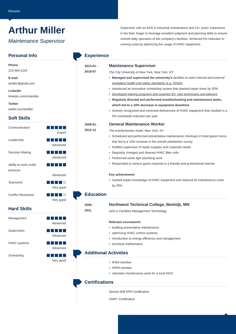 Maintenance Resume: Sample and Writing Guide [20+ Examples]