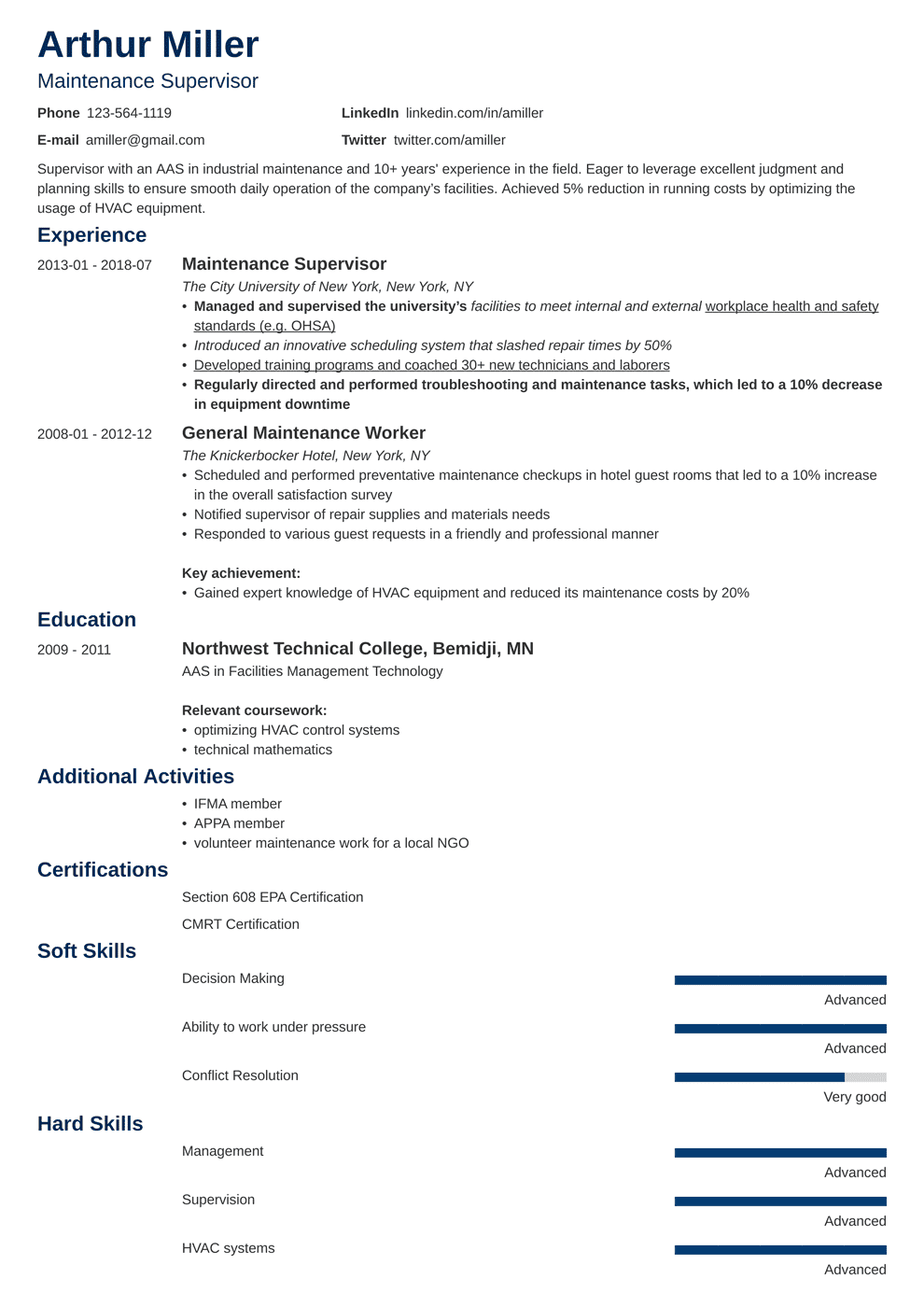 Maintenance Resume Sample And Writing Guide 20 Examples