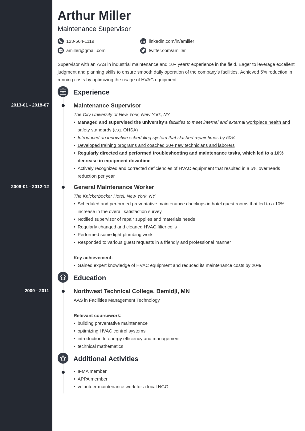 maintenance resume example template concept
