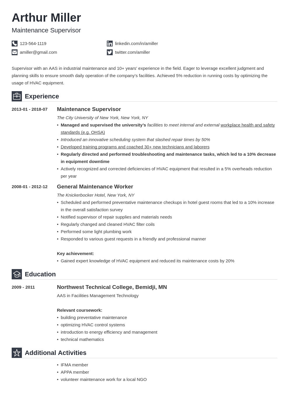 maintenance resume example template iconic