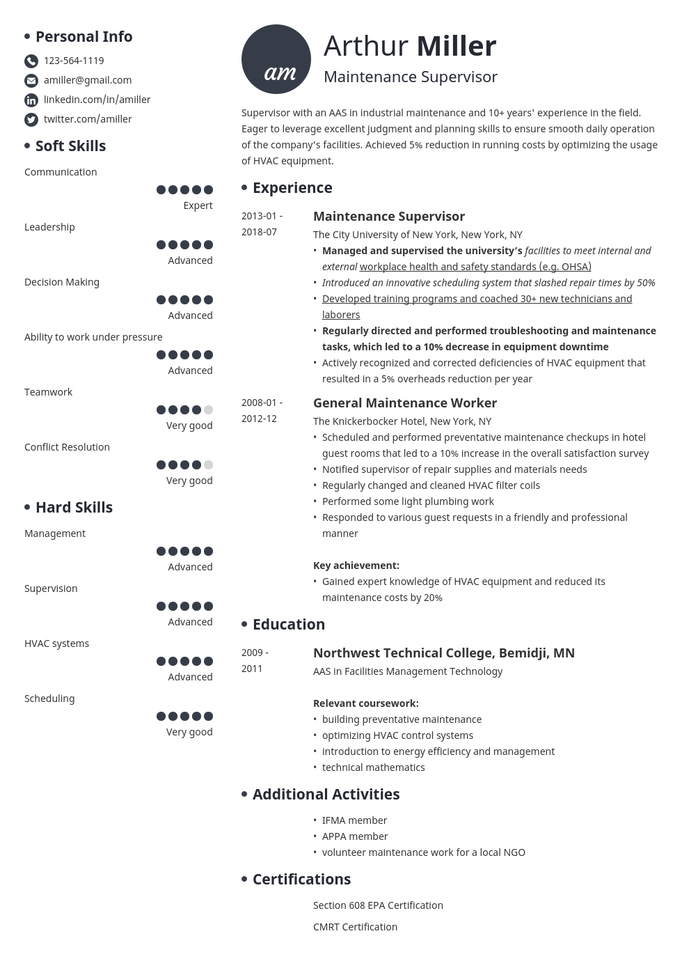 maintenance resume example template initials