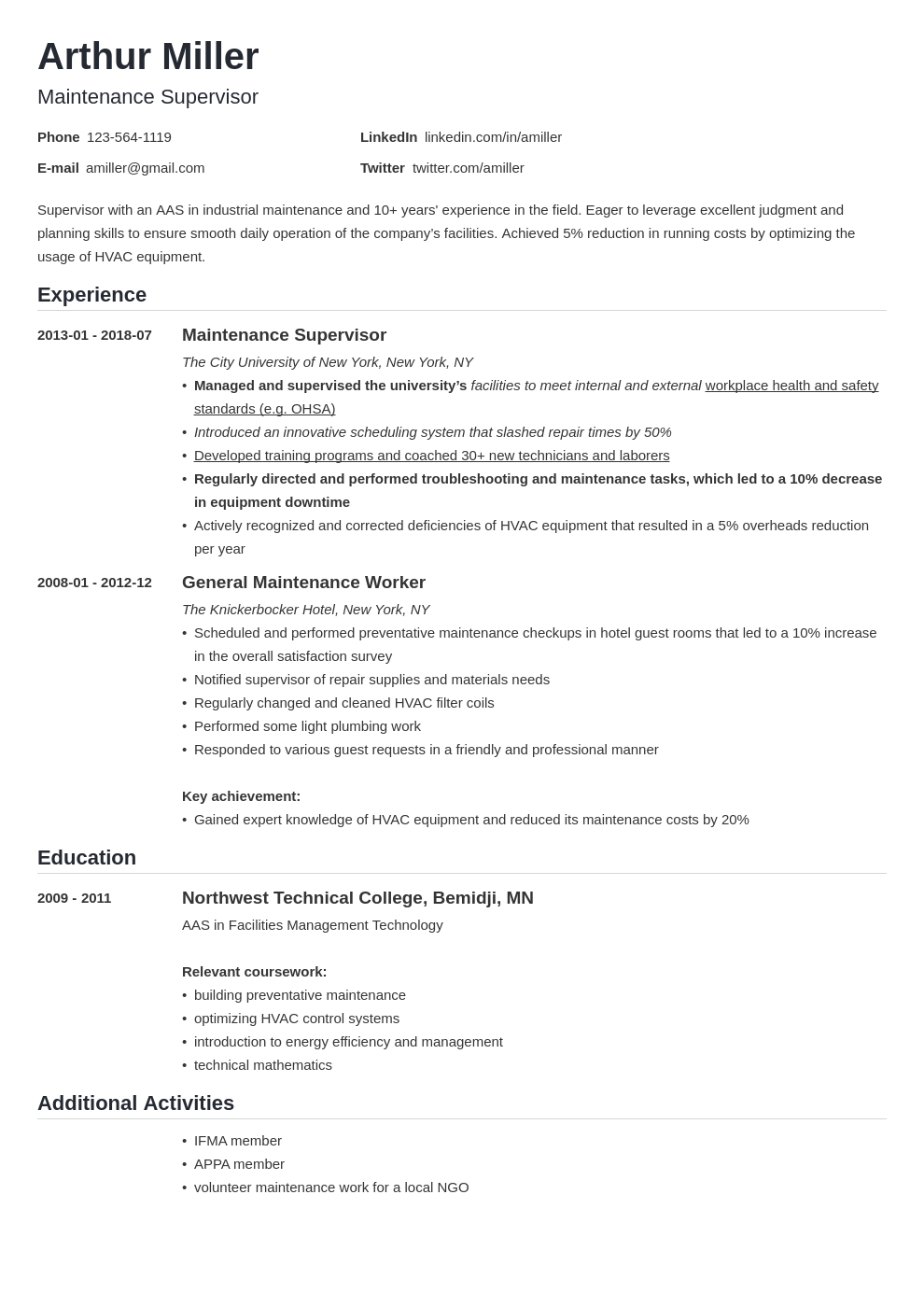 maintenance resume example template nanica