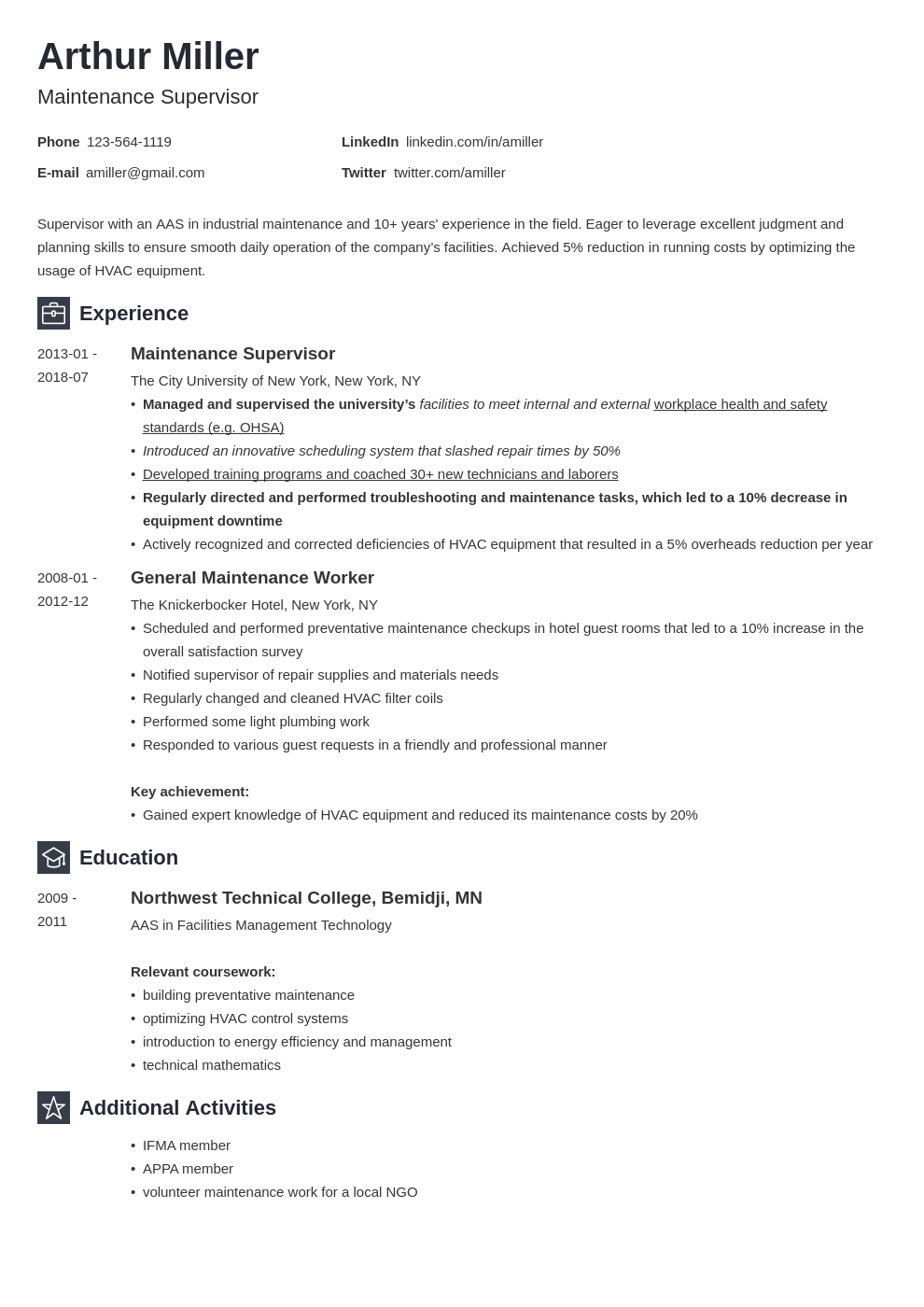 maintenance resume example template newcast