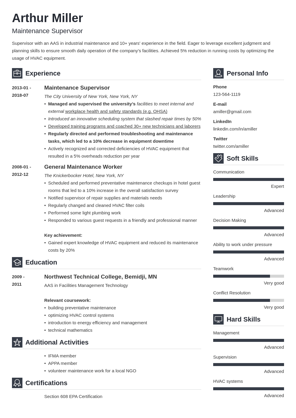 maintenance resume example template vibes