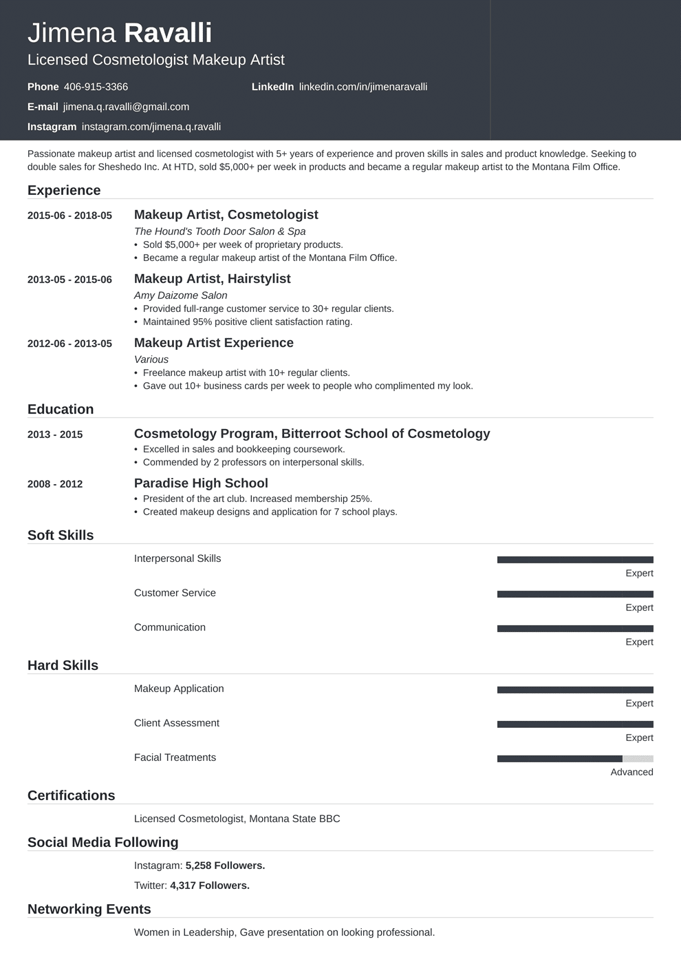 Makeup Artist Resume: Samples and Full Writing Guide [20+