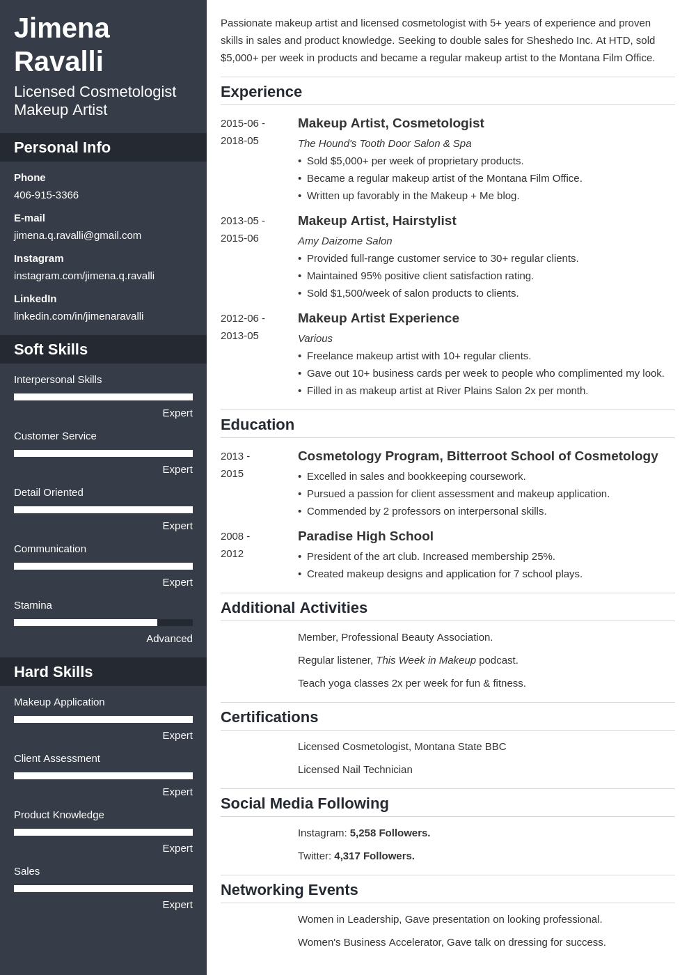 makeup artist resume example template cascade