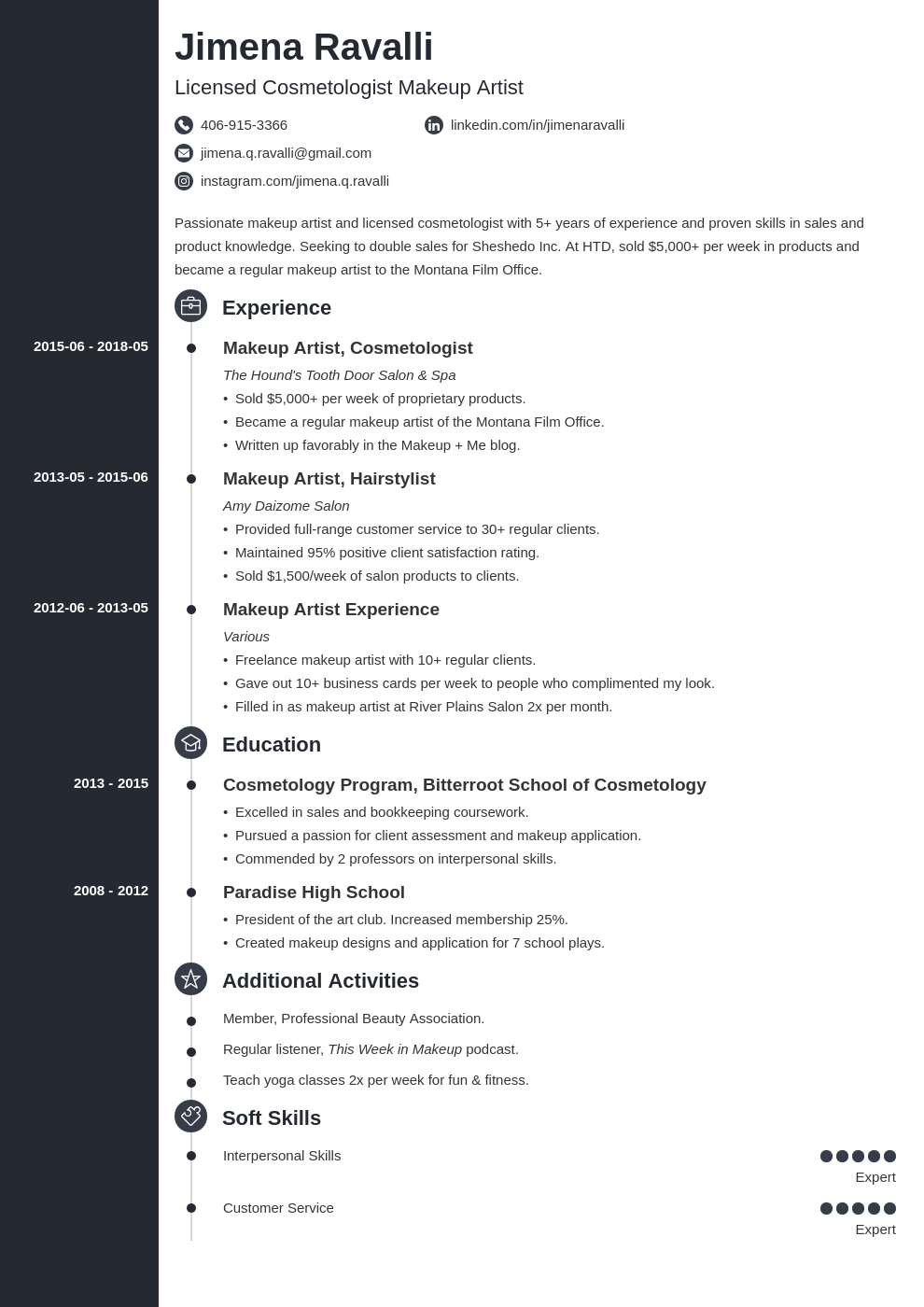 Makeup Artist Resume Sample For 2020 Guide Examples