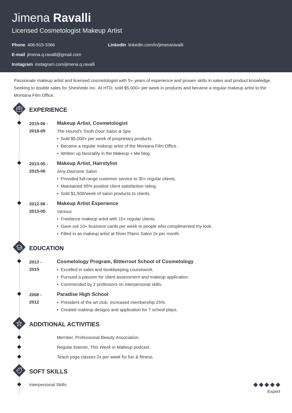 makeup artist resume example template diamond