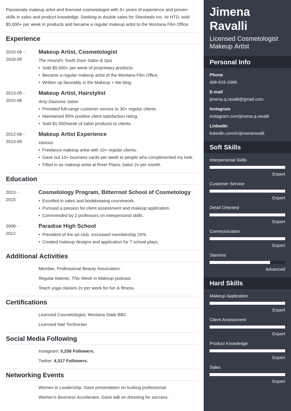 makeup artist resume example template enfold
