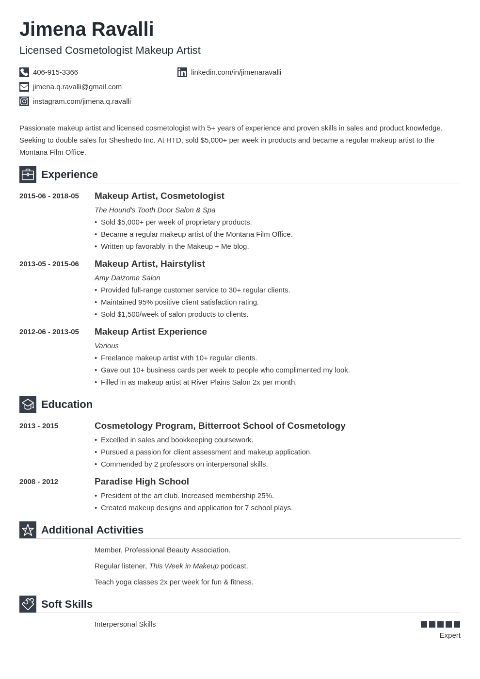 makeup artist resume example template iconic