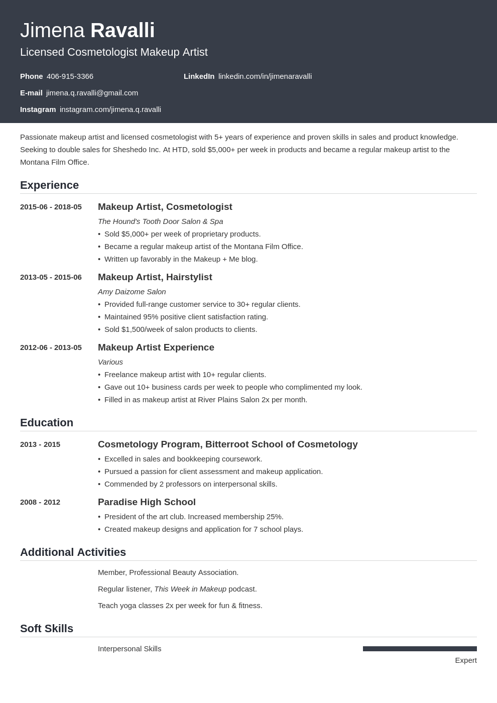 makeup artist resume example template influx