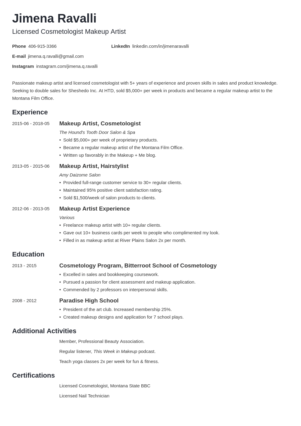 makeup artist resume example template minimo