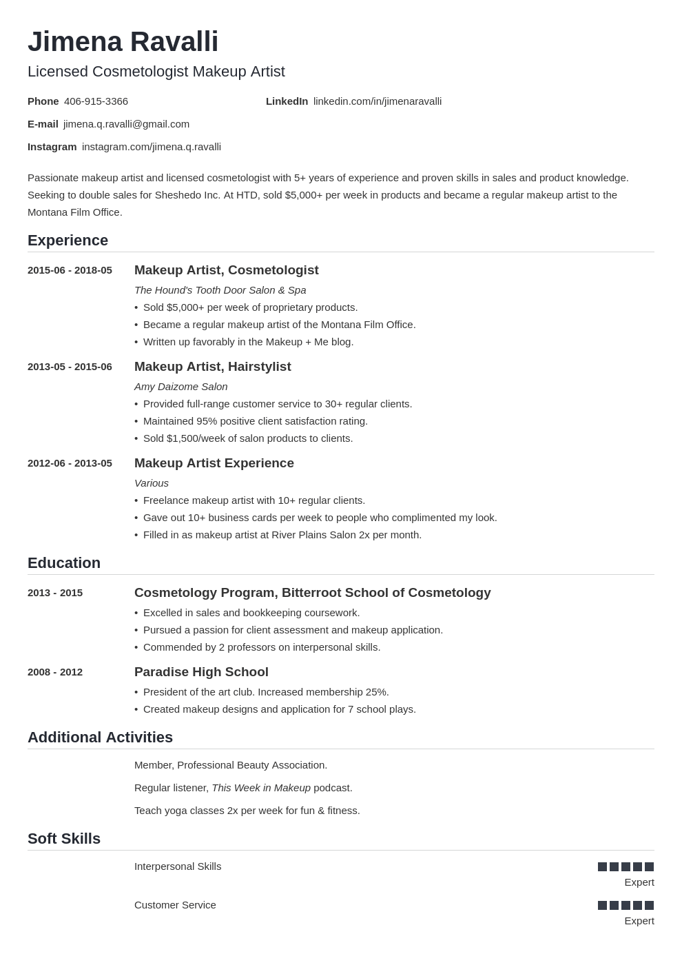 makeup artist resume example template nanica