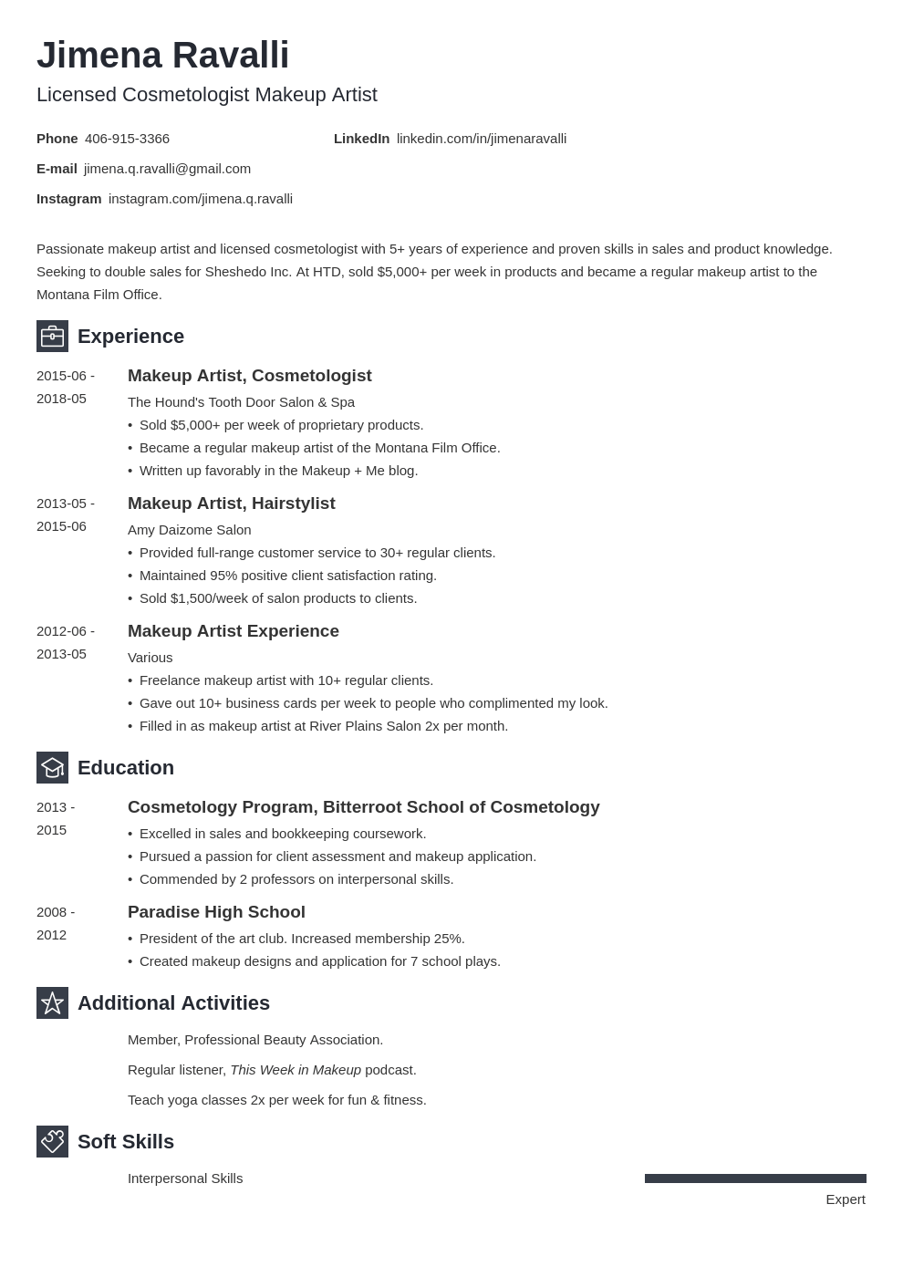 makeup artist resume example template newcast