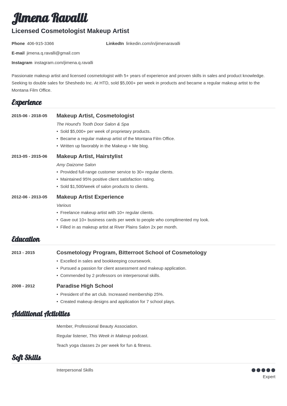 makeup artist resume example template valera