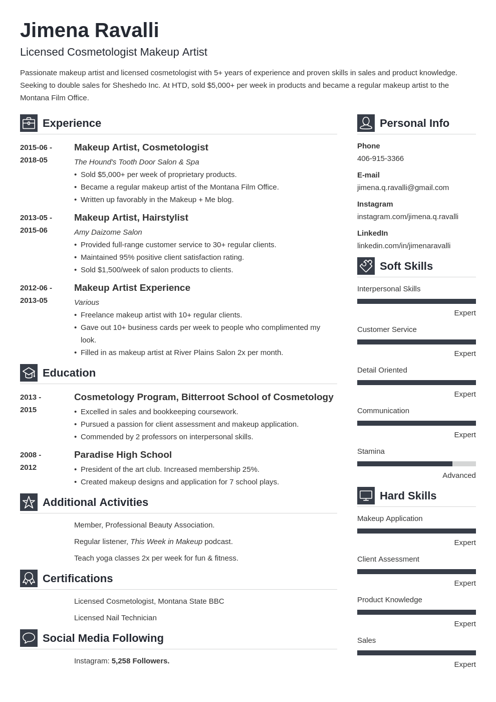 makeup artist resume example template vibes