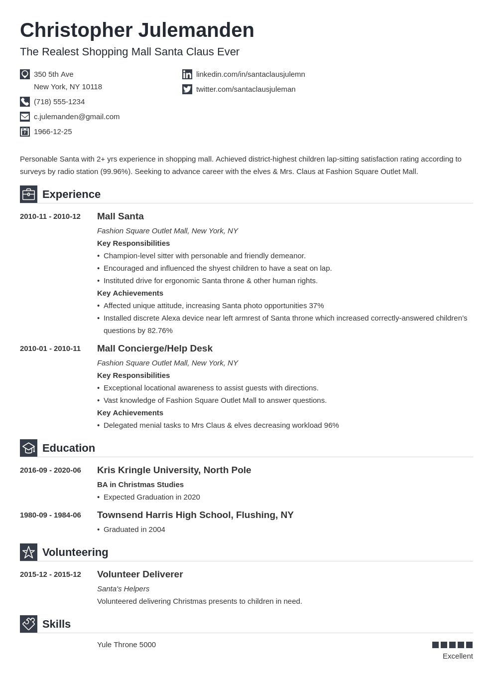 mall santa resume example template iconic