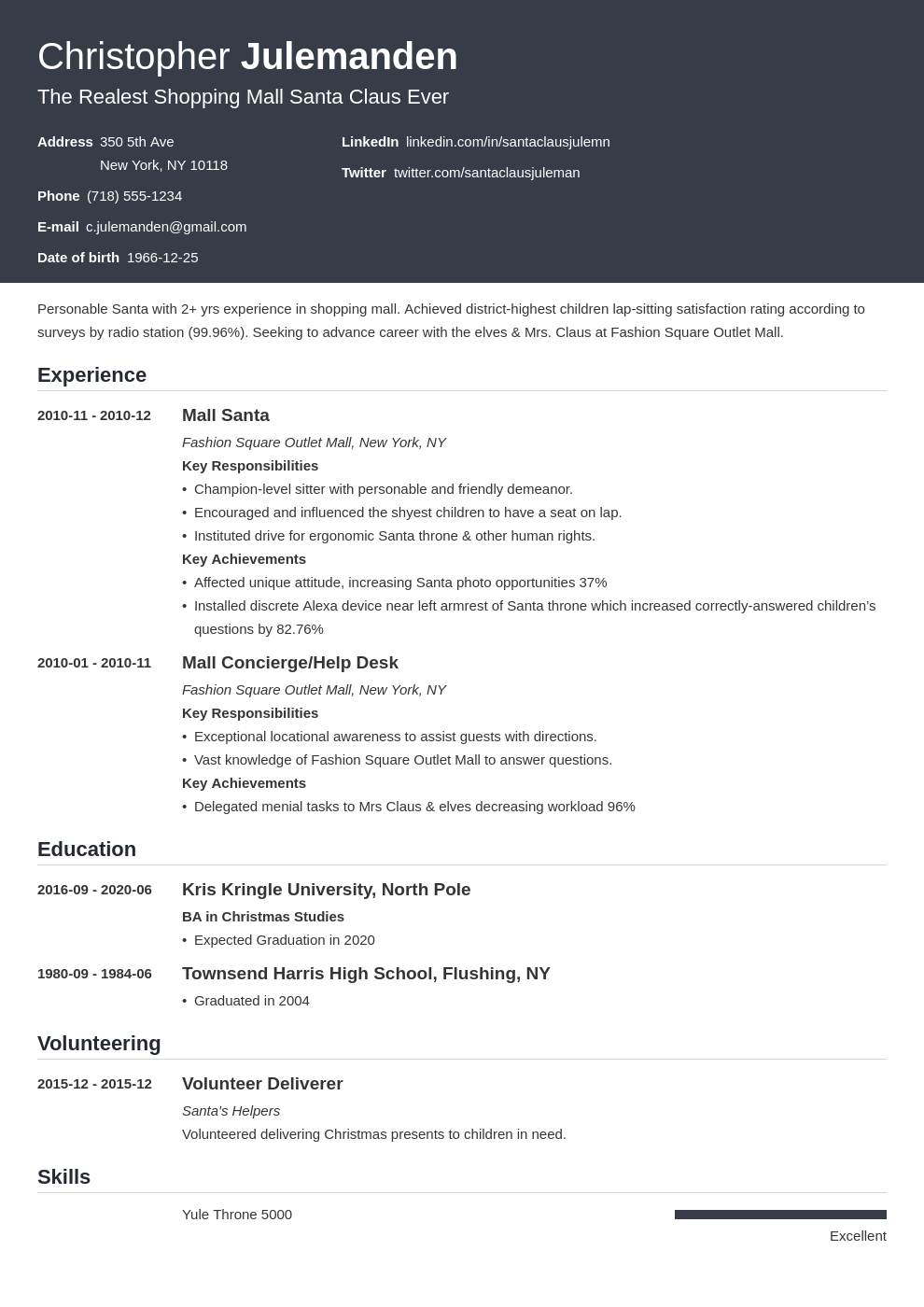 mall santa resume example template influx