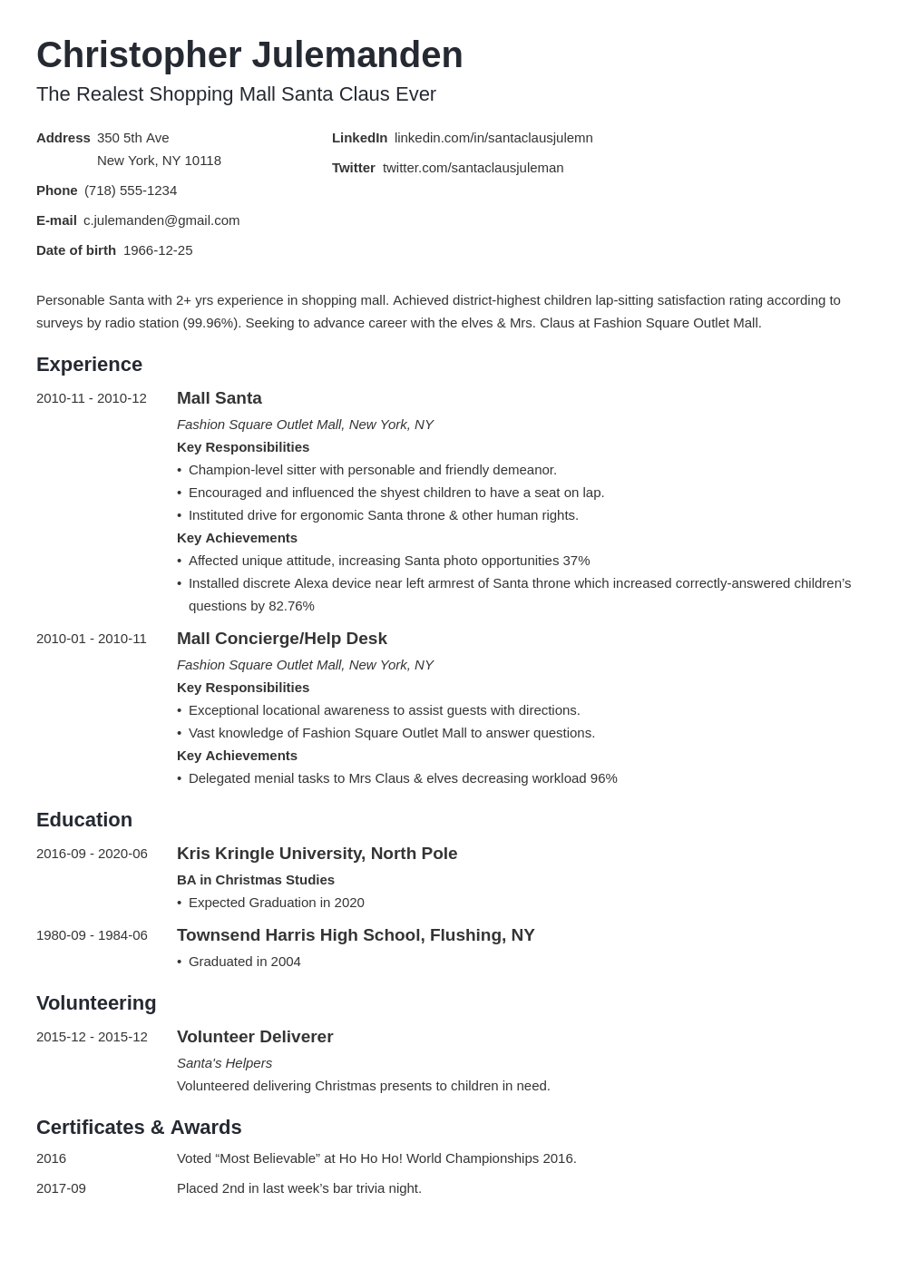 mall santa resume example template minimo