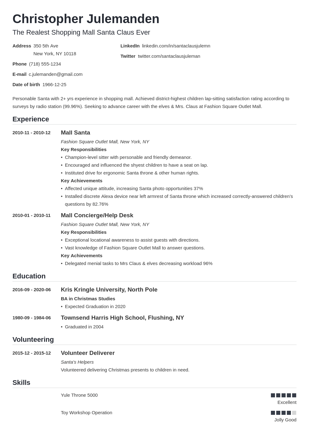 mall santa resume example template nanica