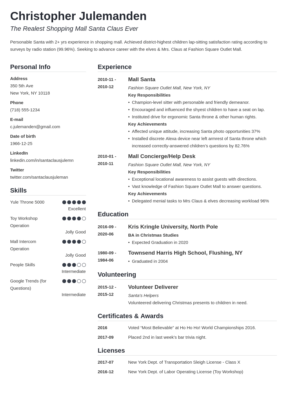 mall santa resume example template simple
