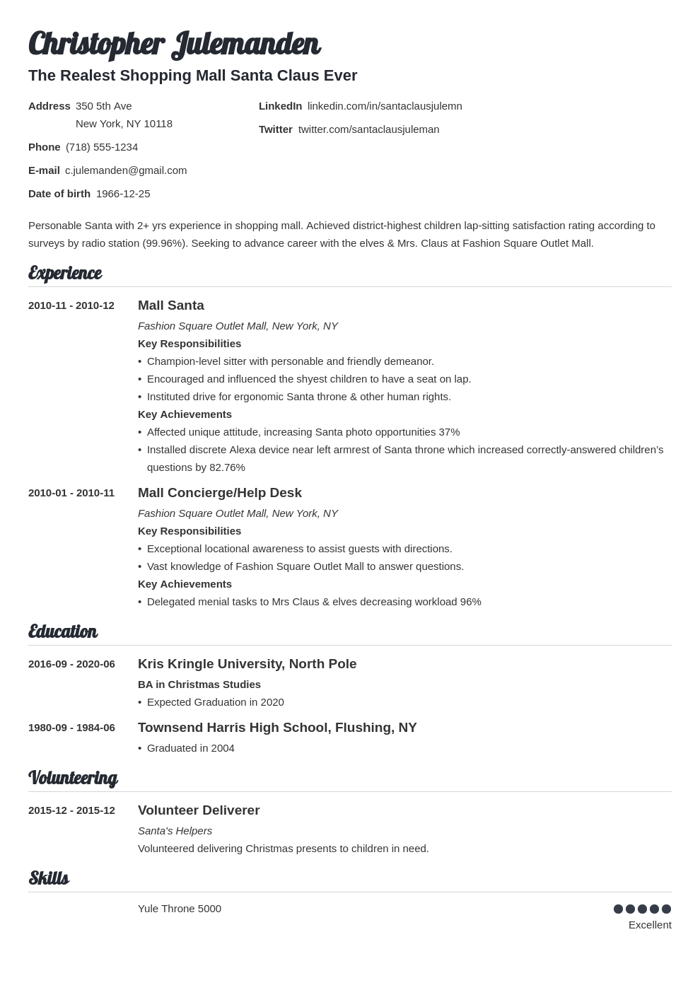 mall santa resume example template valera