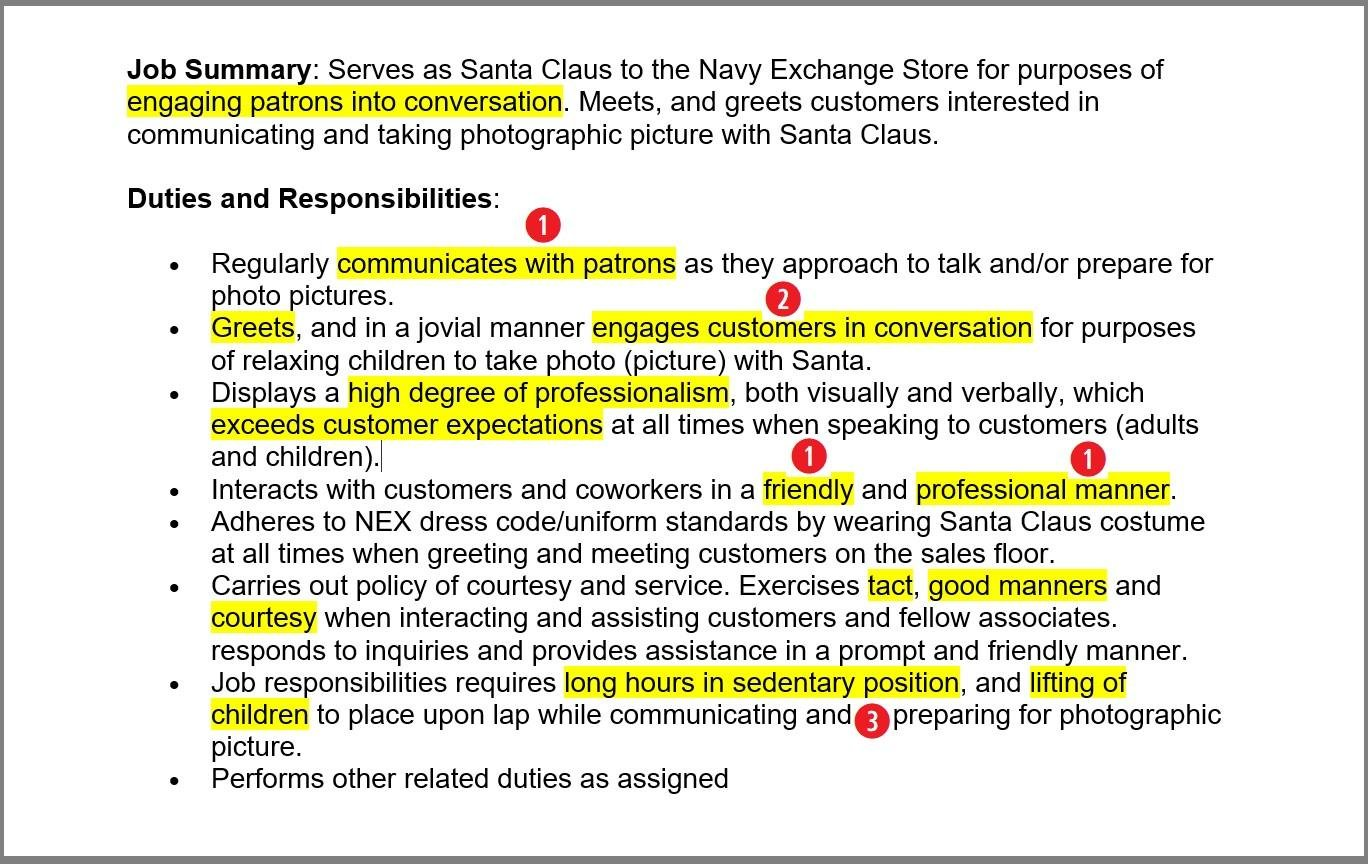 lists of duties and responsibilities for mall santa