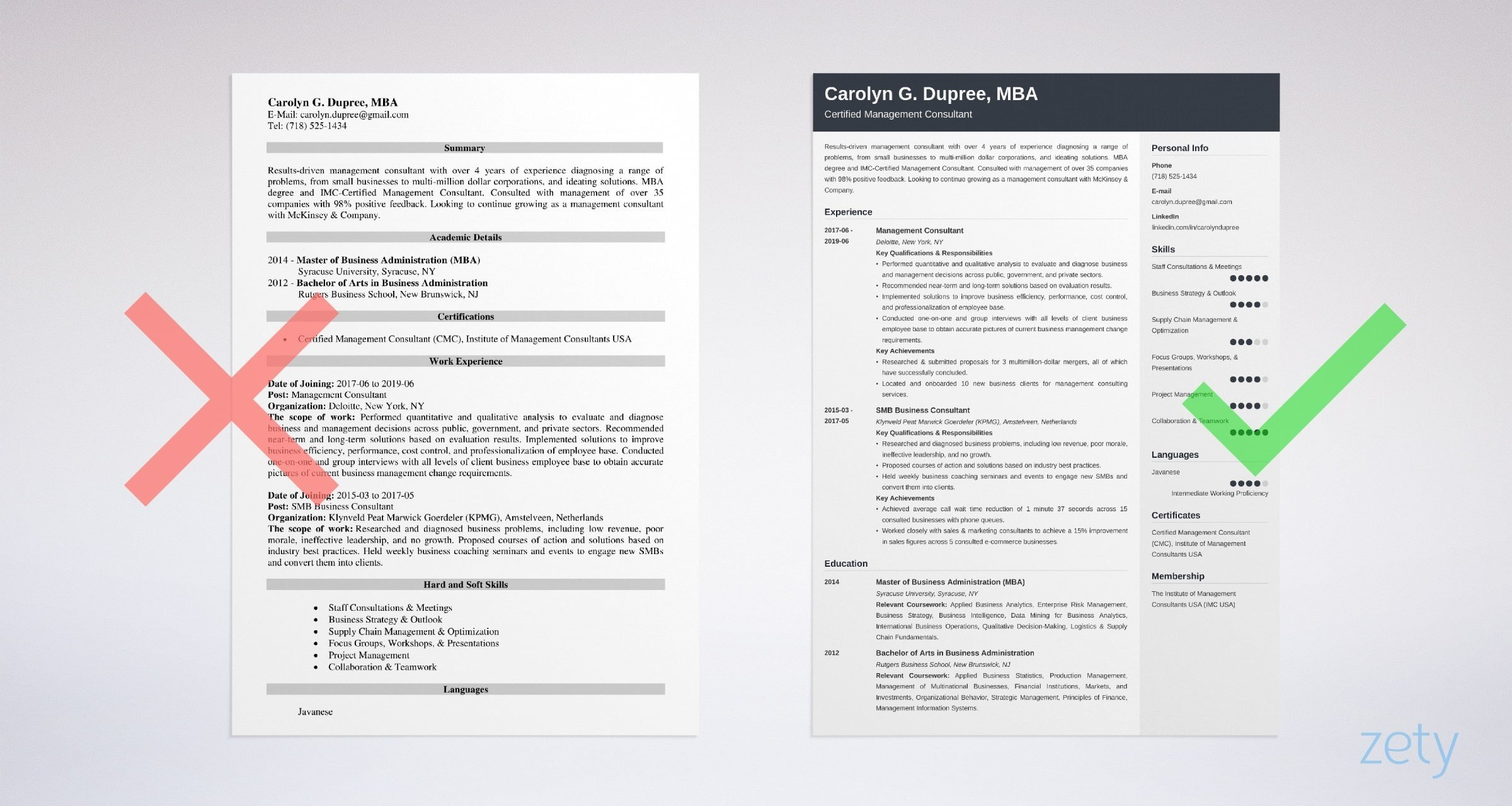 management consultant resume templates
