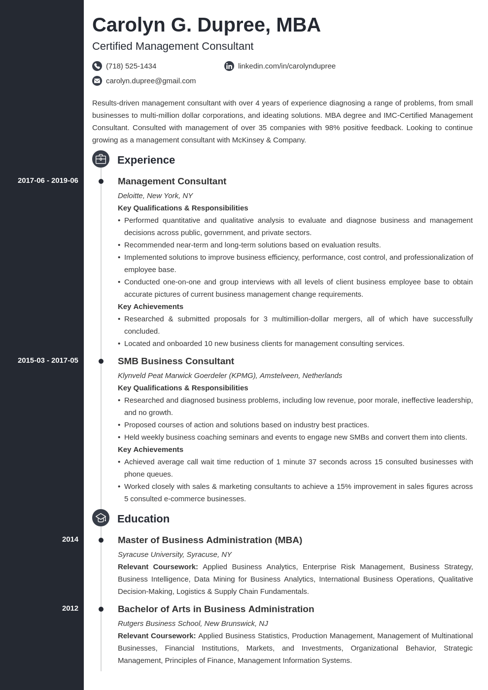 management consultant resume example template concept