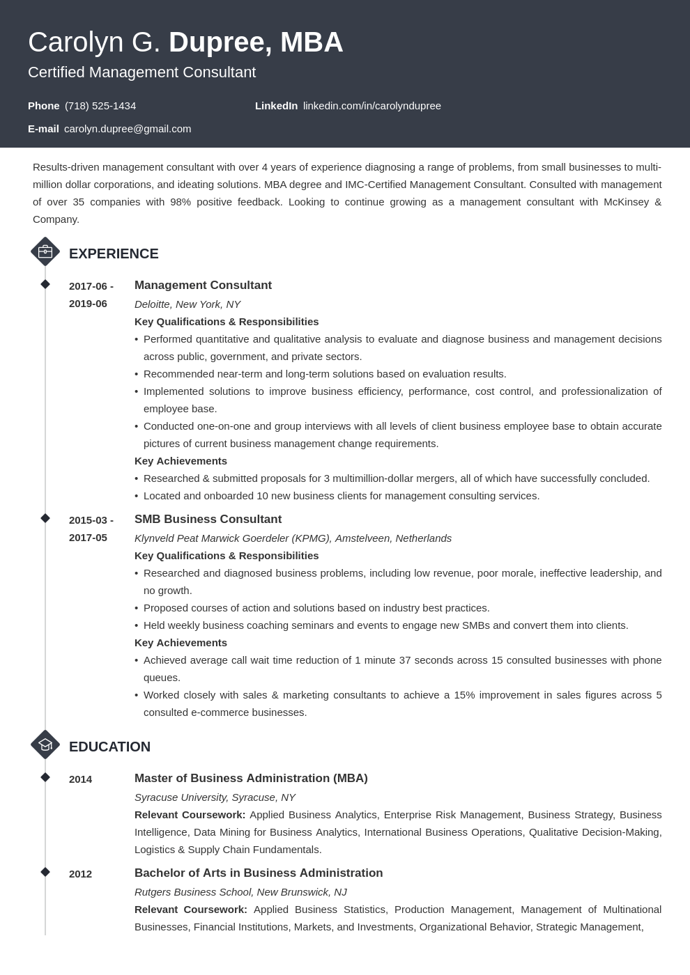 management consultant resume example template diamond