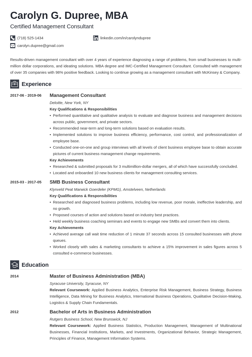 management consultant resume example template iconic