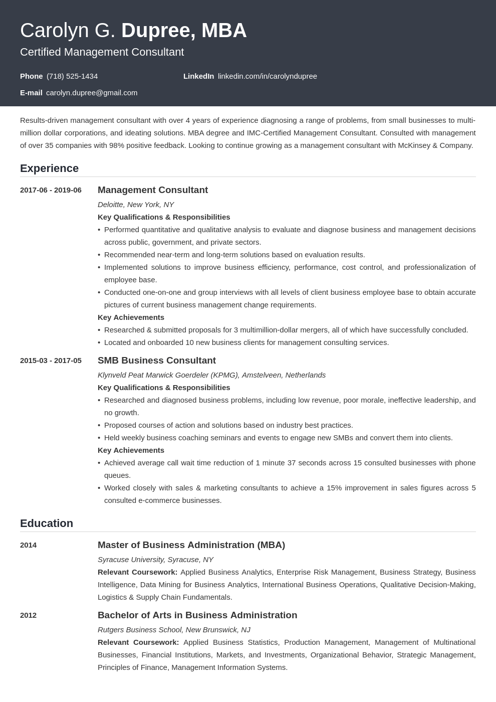 management consultant resume example template influx