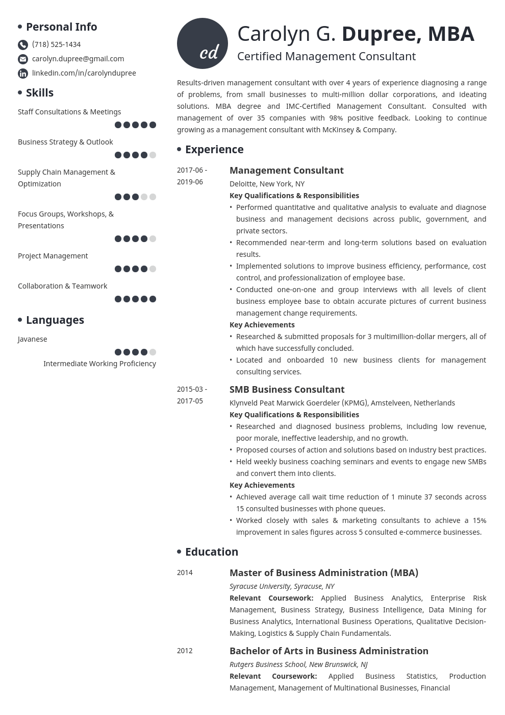 management consultant resume example template initials