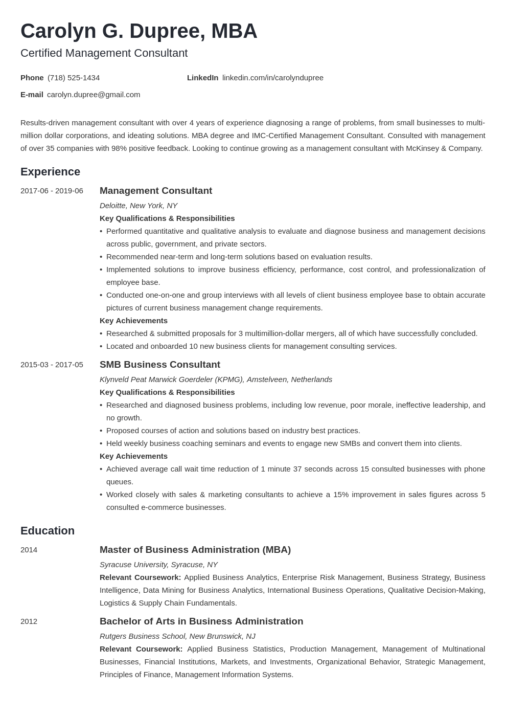 management consultant resume example template minimo