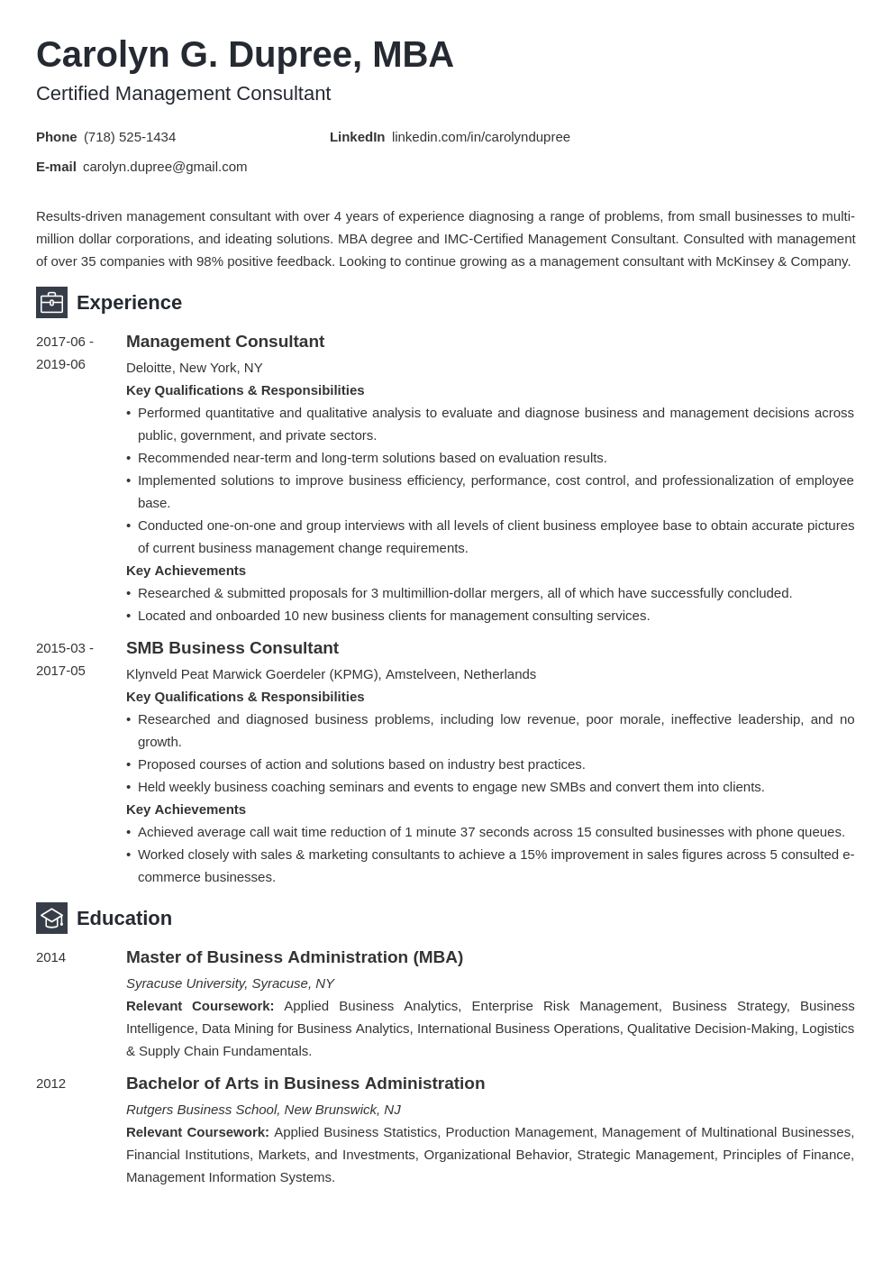 management consultant resume example template newcast